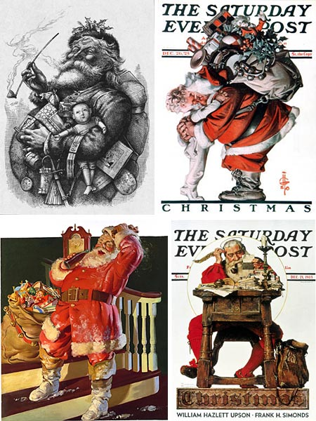 Santa by Thomas Nast, J.C. Leyendecker, Norman Rockwell and Haddon Sundblom
