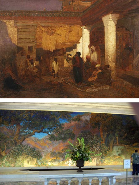 Louis Comfort Tiffany - Snake Charmer in Tangier, Tiffany and Maxfield Parrish, Dream Garden, Curtis Center, Philadelphia