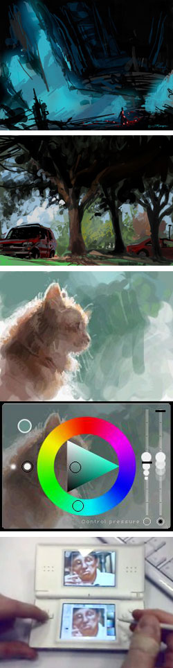 Colors! and Inchworm: digital painting applications for Nintendo DS, art by Simon Rodgers, Sparth, Mattias Snygg, Bob Sabiston