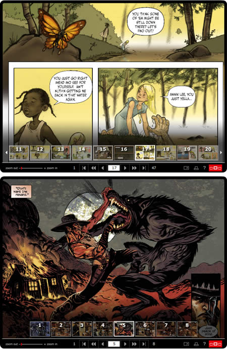 Zuda Comics: Bayou by Jeremy Love and  Patrick Morgan;  High Moon by David Gallaher, Steve Ellis and  Scott O Brown