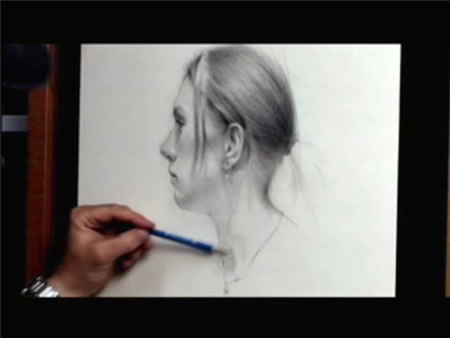ArtDemonstrations.com - still from portrait drawing video by Barrett Bailey
