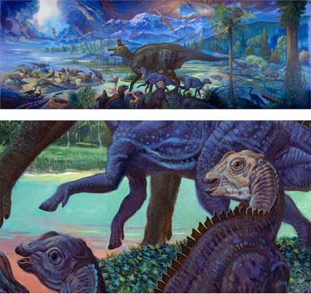 William Stout's Fossil Mysteries murals of prehistoric life for the San Diego Natural History Museum - Costal Dinosaurs