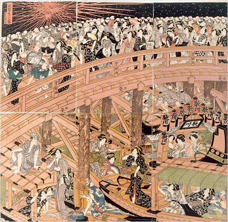 Utagawa: Masters of the Japanese Print, 1770-1900  at the Brooklyn Museum - Fireworks at Ryogoku Bridge by Utagawa Toyokuni