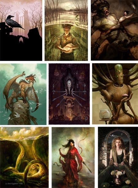 Tor Books illustrators: Patrick Arrasmith, Christian Alzmann, David Bowers, Brom, Jon Foster, Bob Eggleton, Brian Despain, Aleksi Briclot, Daren Bader