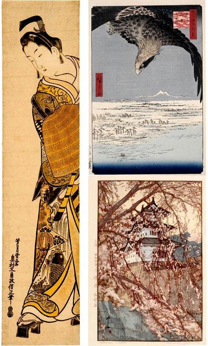 Okumura Masanobu, Utagawa Hiroshige, Hiroshi Yoshida