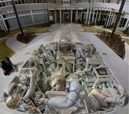 Illusionistic 3-D painting on sidewalks - Kurt Wenner