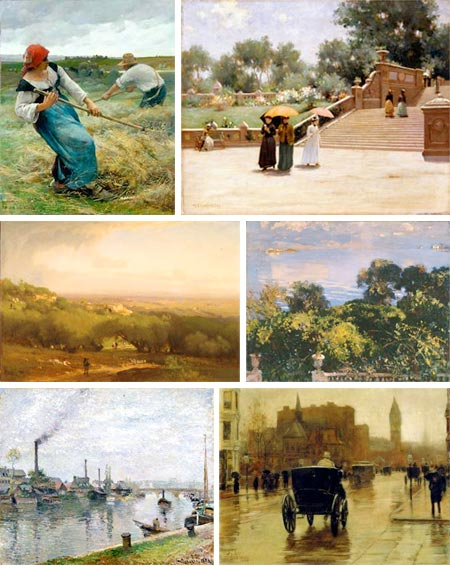 Paths to Impressionism - Julien Dupre, Luther Van Gorden, George Inness, John Singer Sargent, Camille Pissarro, Childe Hassam