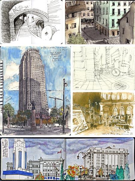 Urban Sketchers - Alessandro Andreuccetti, Rob Carey, Gabi Campanario, Lok Janssen, Laura Genz, Matthew Cenich