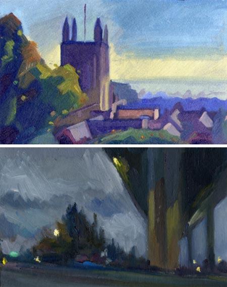 Antony Bridge and Carl Melegari - pochade paintings