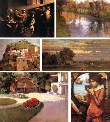 Allpaintings Art Portal, Caravaggio, Frits Thaulow, Theodore Robinson, George Inness, Gustav Caillebotte, John William Waterhouse