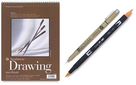 Sakura Pigma Micron, Tombow Dual Brush-Pen, trathmore Series #400 sketchpads
