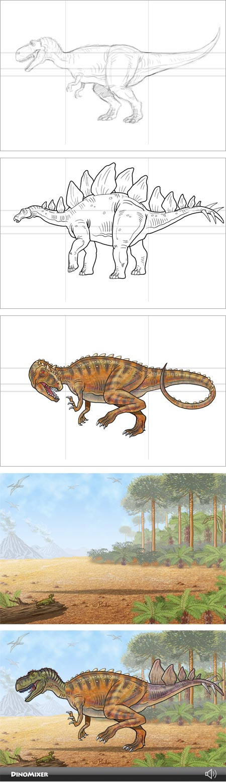 DinoMixer, dinosaur mix and match app for iPhone and iPod touch, art by Charley Parker