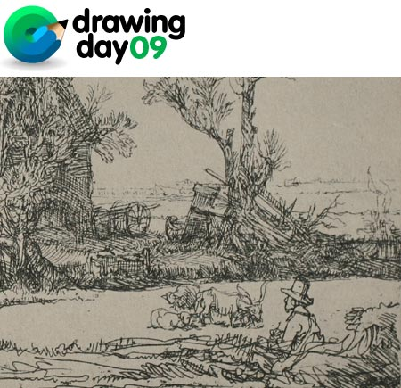 Drawing Day 2009, Rembrandt - Landscape with a Man Sketching a Scene