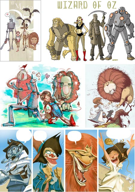 Various Styles of The Wizard of Oz Illustrations: Julian Totino Tedesco, Lee Gaston, Tony Papesh, Skottie Young, Enrique Fernandez
