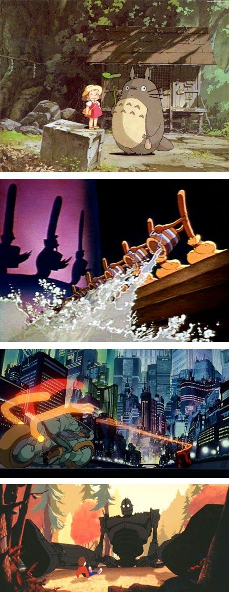 My Neighbor Totoro, directed by Hayao Miyazaki; Walt Disney's Fantasia, (multiple directors); Akira, directed by Katsuhiro Otomo; and The Iron Giant, directed by Brad Bird