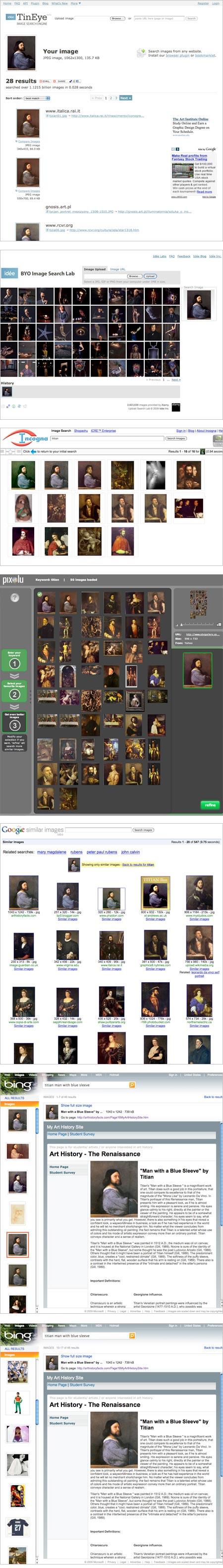 Similarity based image search, TinEye, BYO Image Search Lab, Incognia, Pixolu, Google Similar Images, Bing