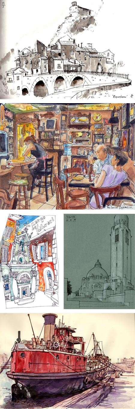 Urban Sketchers: Matt Jones, Thomas Thorspecken, Benedetta Dossi, Gerard Michel, Stephen Gardner