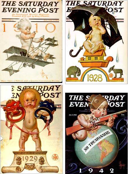 J.C. Leyendecker New Year's babies from Saturday Evening Post covers