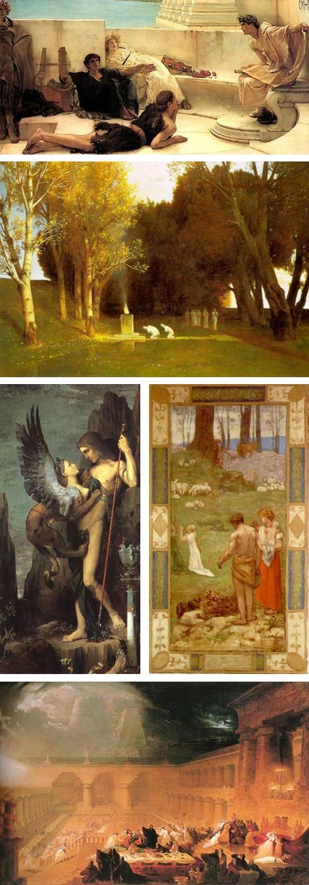 Sir Lawrence Alma-Tadema, Arnold Bocklin, Gustave Moreau, Pierre Puvis de Chavannes and John Martin