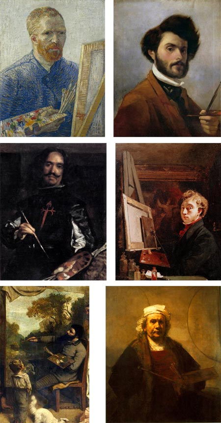Artists' Self Portraits with Palettes: Vincent van Gogh, SIr John Everett Millais, Gustave Courbet, Rembrandt van Rijn