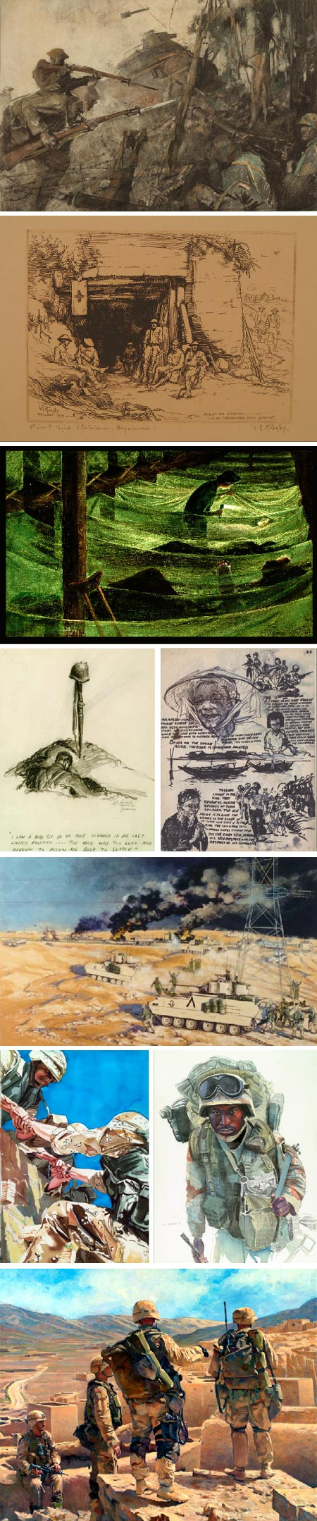 Art of the American Soldier: George Harding, Lester G. Hornby, Franklin Boggs, Howard Brodie, Paul MacWilliams, Frank M. Thomas, Sieger Hartgers, Peter G. Varisano, Elzie Golden
