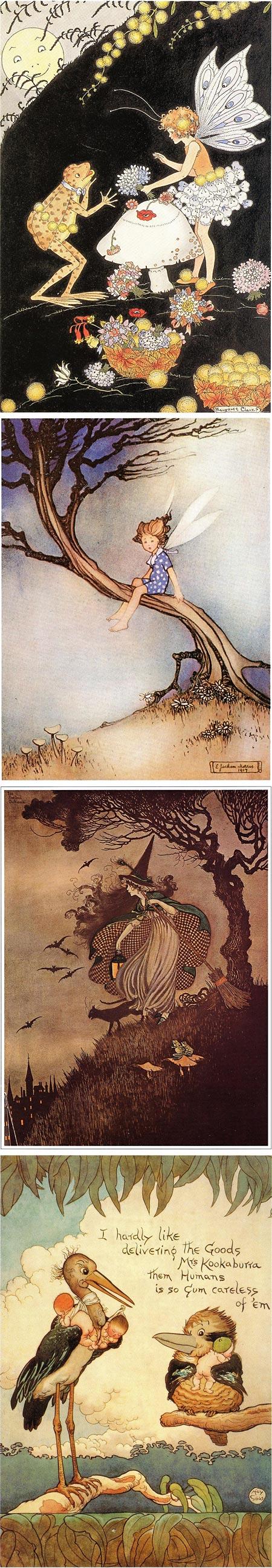 Antipodean Fantasy on BibliOdyssey, Margaret Clark,  Ethel Jackson Morris, Ida Rentoul Outhwaite, May Gibbs