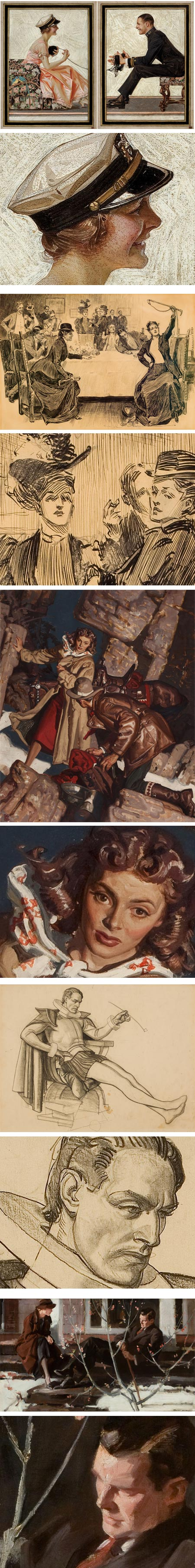 J.C. Leyendecker, Charles Dana Gibson, Dean Cornwell (painting), Dean Cornwell (drawing), Pruett Carter