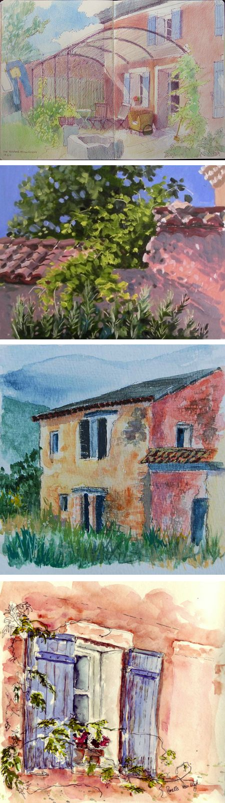 Four Go Painting in Provence, Katherine Tyrrell, Sarah Wimperis, Robyn Sincliar and Ronelle van Wyk