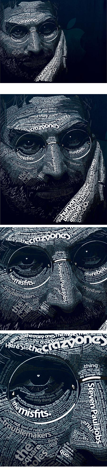 Steve Jobs typographical portrait by Dylan Roscover