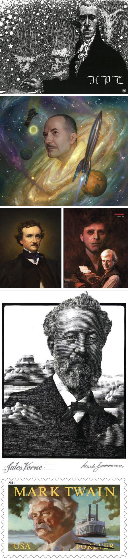 Artists portraits of fantasy and science fiction authors on TOR: Virgil Finlay, Donato Giancola, Michael J. Deas, Iain McCaig, Mark Summers, Gregory Manchess