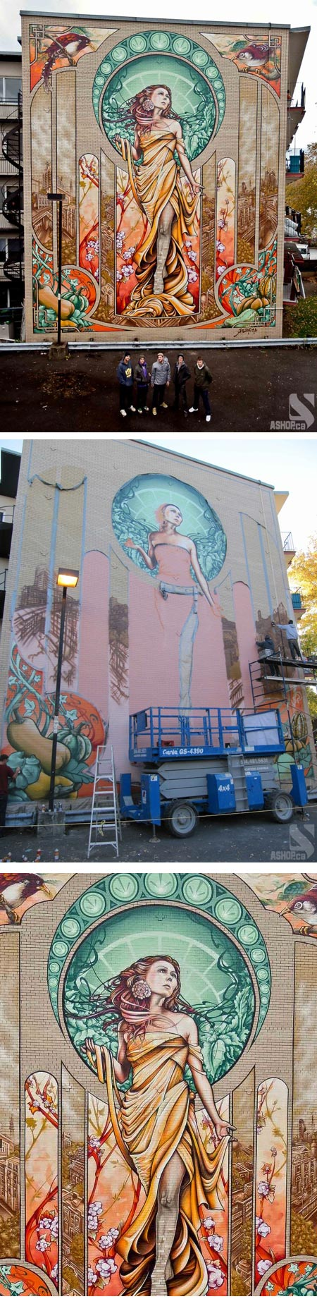 Art Nouveau style mural in Montreal by A'Shop