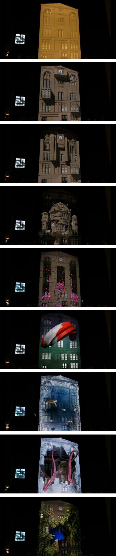 LG Optimus facade mapping  in Berlin