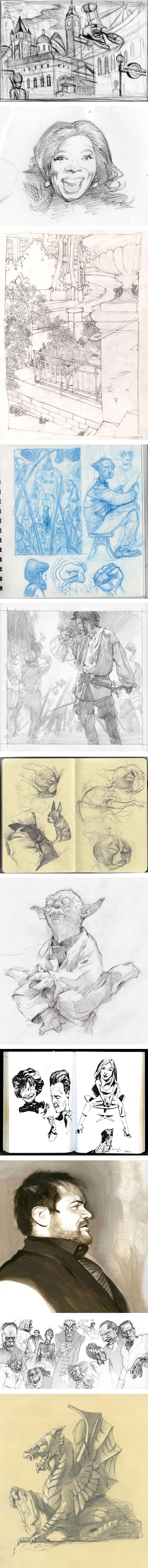 Warm Up Sketches + Working Process, from Richard Solomon artists: Murray Kimber, James Bennett, David Johnson, Jon Foster, Gregory Manchess, Scott Brundage, Tyler Jacobson, Tim Bower, Thomas Ehretsmann, Hermann Mejia, Mark Summers