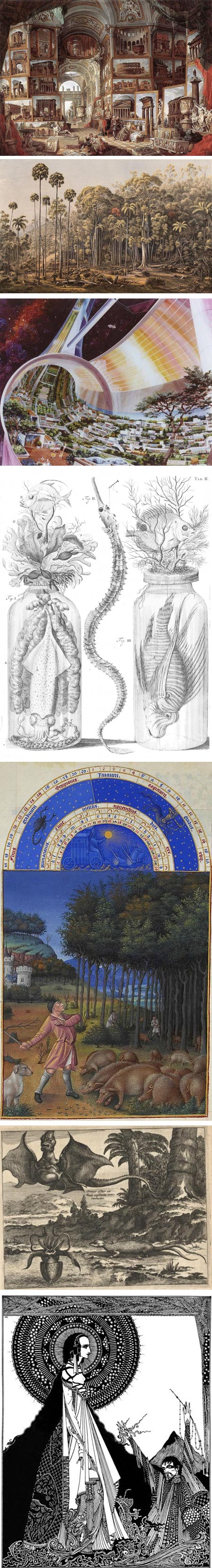 The Public Domain Review: Giovanni Paolo Pannini, Eugène von Guérard, Rick Guidice (NASA), from books by Frederik Ruysch (uncertain of artist), Limbourg brothers (for Très Riches Heures), Arnoldus Montanus, Harry Clarke