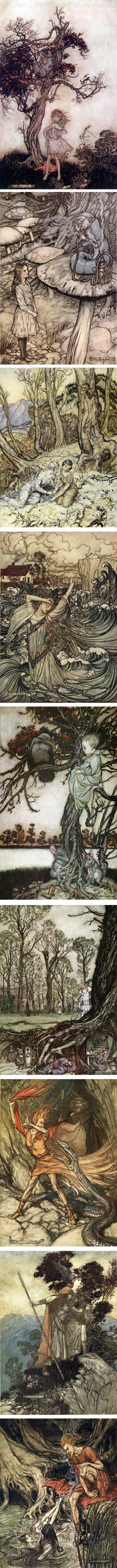 Arthur Rackham: Rip van Winkle, Alice's Adventures in Wonderland, Peter Pan in Kensington Gardens, Undine, The Ring of the Niblung