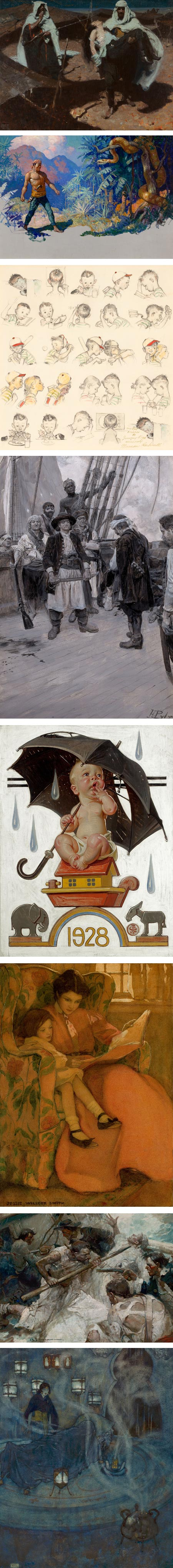 Heritage Illustration Auction: Dean Cornwell, N.C. Wyeth, Norman Rockwell, Howard Pyle, J.C. Leyendecker, Jessie Wilcox Smith, Frank Schoonover, Edmund Dulac)
