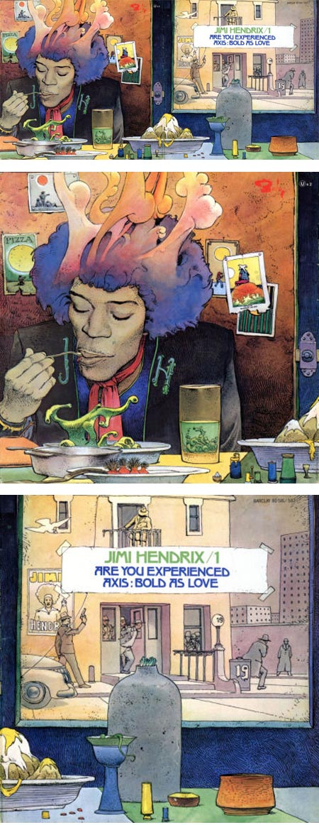 Aalternate Jimi Hendrix album cover by Jean Giraud (Moebius)