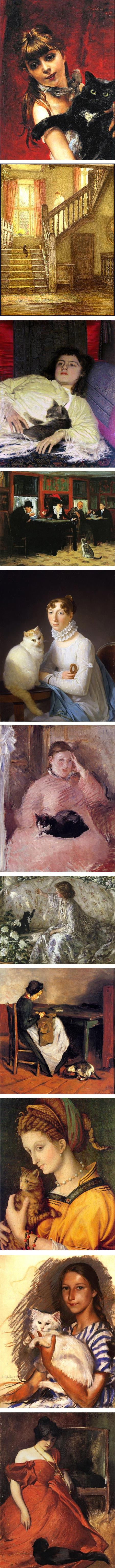 Women and cats Flickr set by Huismua: Giovanni Boldini, Helene Allingham, Ivan Kramskoi, John Sloan, Marguerite Gérard, Edouard Manet, Phillip William Steer, Max Lieberman, Francesco Bacchiacca, Zinaida Serebriakova, John White Alexander
