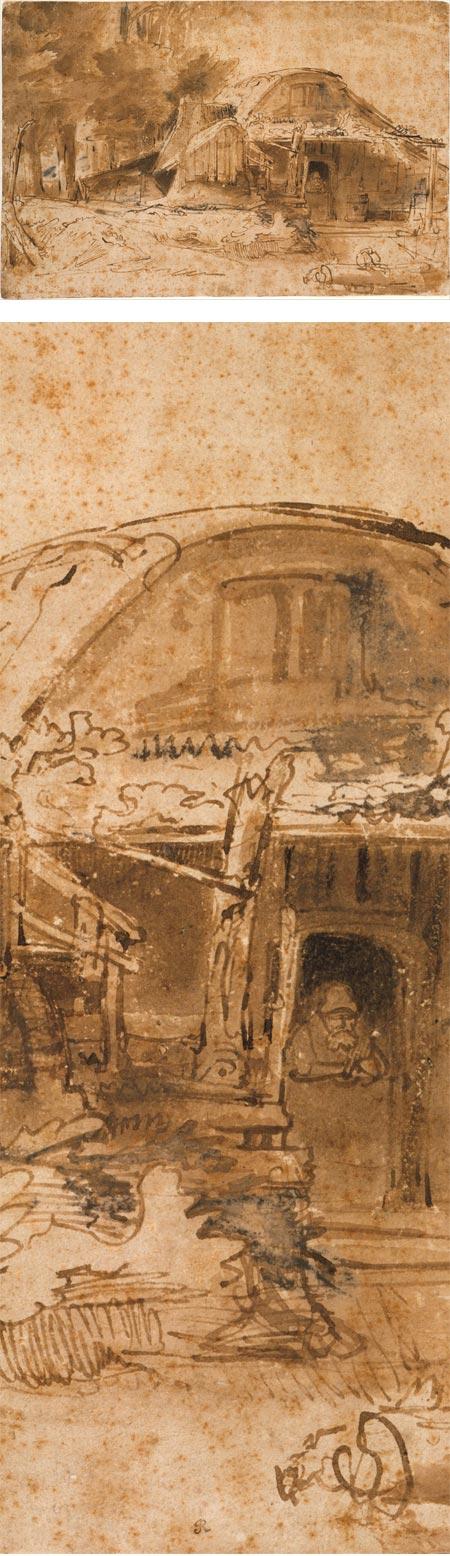 Cottage near the Entrance to a Wood, Rembrandt van Rijn