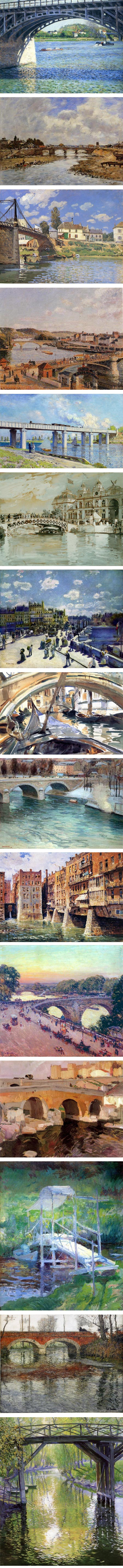 Impressionist bridges: Gustave Caillebotte, Eugene Boudin, Alfred Sisley, Camille Pissarro, Claude Monet, Childe Hassam, Pierre-Auguste Renoir, John Singer Sargent, Edward Redfield, Colin Campbell Cooper, Willard Metcalf, Joaquin Sorolla, John Twatchman, Frits Thaulow, Guy Rose