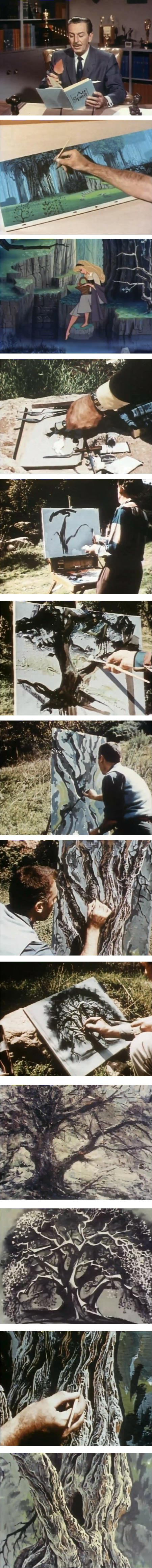 Classic Disney animators paint a tree:  Marc Davis, Eyvind Earle, Joshua Meador and Walt Peregoy