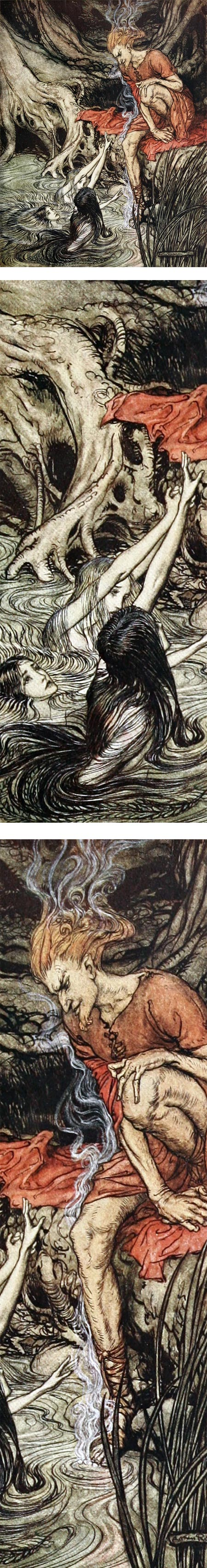 Rhinegold and the Valkyries, Arthur Rackham
