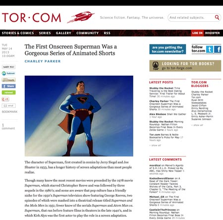 My Tor.com post on the Fleischer Superman cartoons