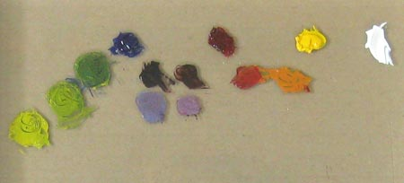 Alizarin Crimson, Ultramarine Blue and Cadmium Yellow Light mixed for secondary colors