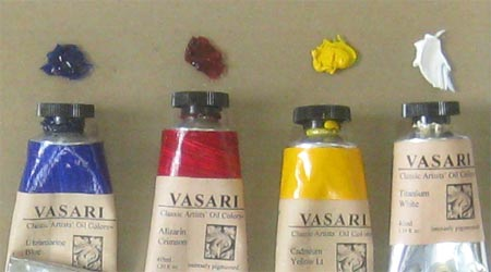 Limited three primary palette: Alizarin Crimson, Ultramarine Blue and Cadmium Yellow Light