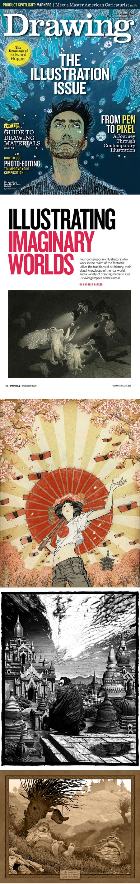 Drawing magazine, Summer 2013: Yuko Shimizu (cover, also features inside), Mark Schultz (on article opening page), Yuko Shimizu, Patrick Arrasmith and Ed Binkley
