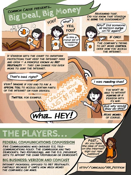 Common Cause uses comics info graphic to explain Verizon's attempt to undermine Net Neutrality