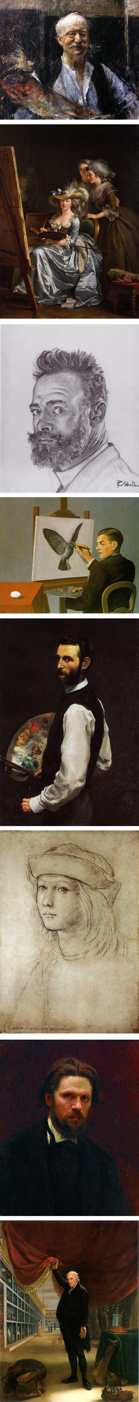 self-portraits: Antonio Mancini, Adelaide Labille-Guiard, Ferdinand Hodler, Rene Magritte, Frederic Bazille. Ivan Kramskoy, Charles Wilson Peale