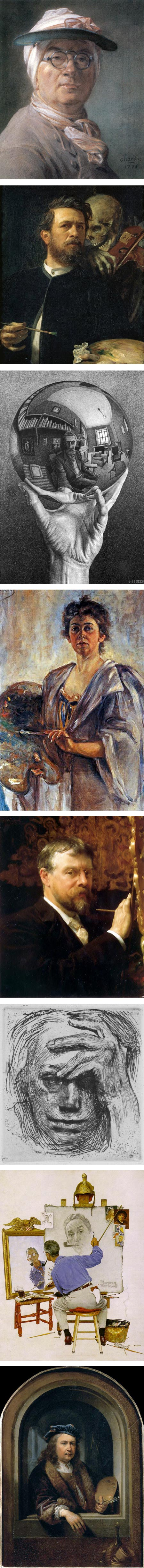 Selfies: Jean-Baptiste-Simeon Chardin, Arnold Bocklin, M.C. Escher, Alice Pike Barney, Lawrence Alma-Tadema, Kathe Kollwitz, Norman Rockwell, Gerrit Dou