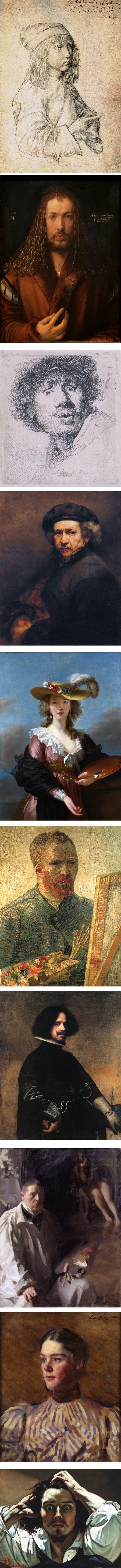 Selfies, self portraits by Albrecht Durer (2), Rembrandt van Rijn (2), Elisabeth-Louise Vigée-Lebrun, Vincent van Gogh, Diego Velázquez, Anders Zorn, Cecilia Beaux, Gustave Courbet